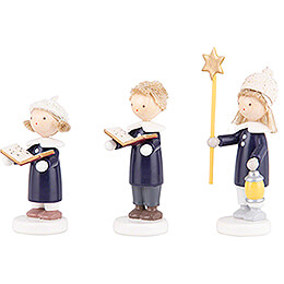 Flax Haired Children Carolers of Olbernhau with Star - 5 cm / 2 inch