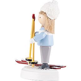 Flax Haired Children Boy on Ski - 5 cm / 2 inch