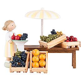 Flax Haired Children Fruit Vendor - 5 cm / 2 inch