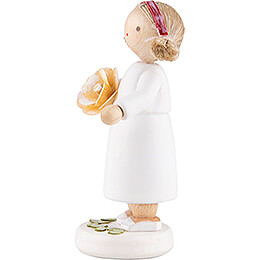 Flower Fairy Girl with Rose, Yellow - 5 cm / 2 inch