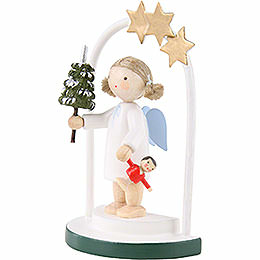 Flax Haired Angel in a Star Arch - 5 cm / 2 inch
