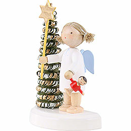 Flax Haired Angel at the Christmas Tree with Star and Doll - 5 cm / 2 inch