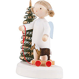 Flax Haired Angel at the Christmas Tree with Little Horse - 5 cm / 2 inch