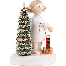 Flachshaarengel an Weihnachtsbaum mit Pferdchen - 5 cm