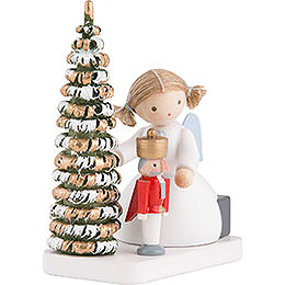 Flax Haired Angel with Nutcracker at the Christmas Tree - 5 cm / 2 inch