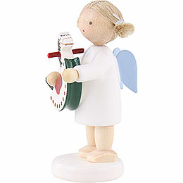 Flax Haired Angel with Rocking Horse - 5 cm / 2 inch