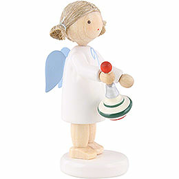 Flax Haired Angel with Humming Top - 5 cm / 2 inch