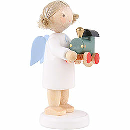 Flax Haired Angel with Toy Railroad - 5 cm / 2 inch