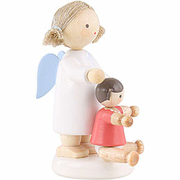 Flax Haired Angel with Doll - 5 cm / 2 inch