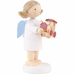 Flachshaarengel mit Spielzeugauto - 5 cm