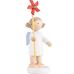 Flax Haired Angel with Wind Wheel - 5 cm / 2 inch