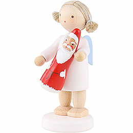 Flax Haired Angel with Chocolate Santa - 5 cm / 2 inch