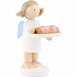 Flax Haired Angel with Christmas Stollen - 5 cm / 2 inch