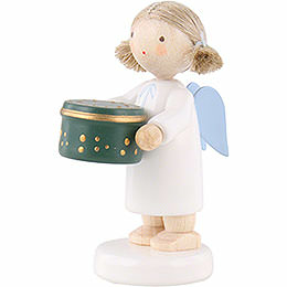 Flax Haired Angel with Can with Sweets, Green - 5 cm / 2 inch