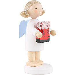 Flax Haired Angel with Santa's Boot - 5 cm / 2 inch