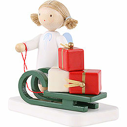 Flax Haired Angel with Christmas Sleigh - 5 cm / 2 inch