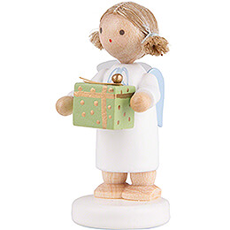 Flax Haired Angel with Christmas Gift, Green - 5 cm / 2 inch