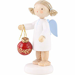 Flax Haired Angel with Christmas Tree Ball - 5 cm / 2 inch
