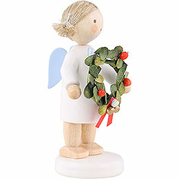 Flax Haired Angel with Christmas Wreath - 5 cm / 2 inch