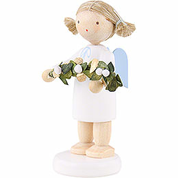 Flax Haired Angel with Mistletoe - 5 cm / 2 inch