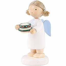 Flax Haired Angel with Tea Cup - 5 cm / 2 inch