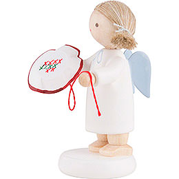 Flax Haired Angel with Tambour Frame - 5 cm / 2 inch