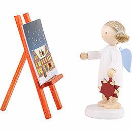 Flachshaarengel mit Adventsstern und -kalender - 5 cm