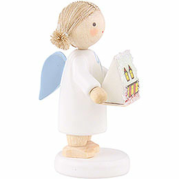 Flax Haired Angel with with Ore Mountain Light House - 5 cm / 2 inch
