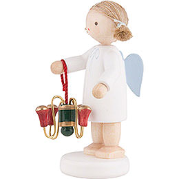 Flax Haired Angel with Candle Holder - 5 cm / 2 inch