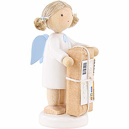 Flax Haired Angel with Christmas Gift - 5 cm / 2 inch
