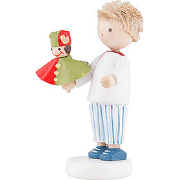 Flax Haired Children Boy with Punch Red/Green - 5 cm / 2 inch