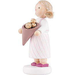 Flax Haired Children Girl with Chocolates - 5 cm / 2 inch