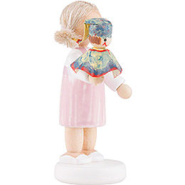 Flax Haired Children Girl with Punch, Colorful - 5 cm / 2 inch