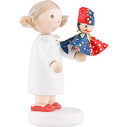 Flax Haired Children Girl with Punch Red/Blue - 5 cm / 2 inch