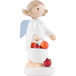 Flax Haired Angel with Apple Basket - 5 cm / 2 inch