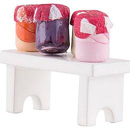 Flachshaarkinder Bänkchen mit Marmelade - 4 cm