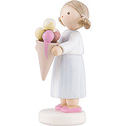Flax Haired Children Big Girl with Icecream - 5 cm / 2 inch