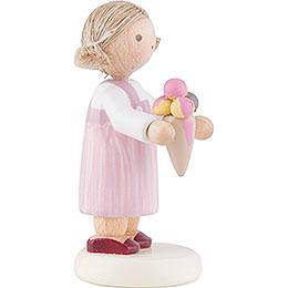Flax Haired Children Little Girl with Icecream - 5 cm / 2 inch