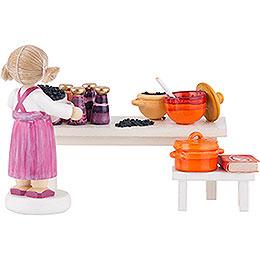 Flax Haired Children Fruit Jam Kitchen - 8 cm / 3.1 inch