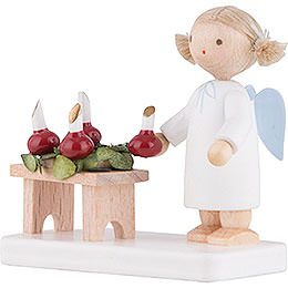 Flax Haired Angel with Advent Wreath - 5 cm / 2 inch