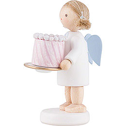 Flax Haired Angel with Feast Cake - 5 cm / 2 inch