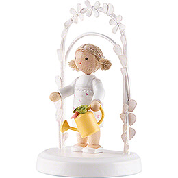 Flax Haired Children - Birthday Child with Watering Can - 7,5 cm / 3 inch