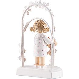 Flax Haired Children - Birthday Child with Flower Wreath - pink - 7,5 cm / 3 inch