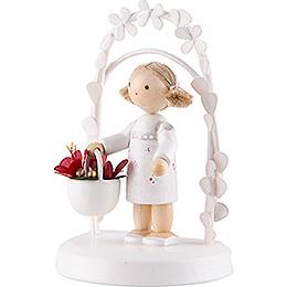 Flax Haired Children - Birthday Child with Amaryllis - 7,5 cm / 3 inch