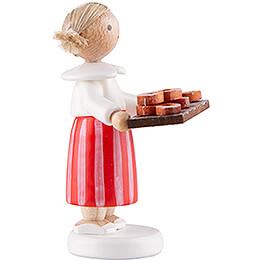 Flax Haired Children Girl with Pretzels - 5 cm / 2 inch