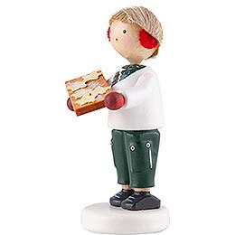 Flachshaarkinder Junge mit Zimtsternen - 5 cm