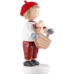 Flachshaarkinder Junge mit Schaukelpferd - 5 cm