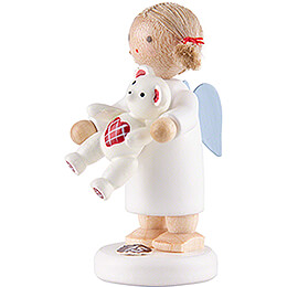 Flax Haired Angel with Teddy - 5 cm / 2 inch