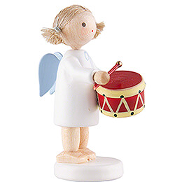 Flax Haired Angel with Drum - 5 cm / 2 inch