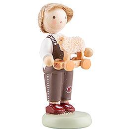 Flachshaarkinder Junge mit Spielzeuglämmchen - 5 cm